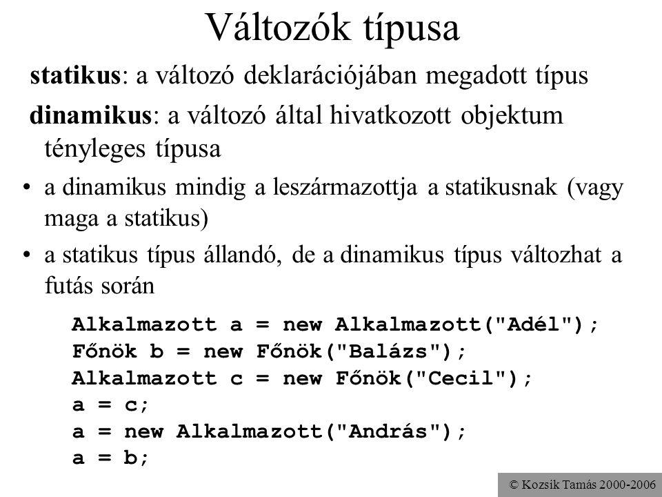 © Kozsik Tamás 2000-2006 Példa parametrikus polimorfizmusra (funkcionális nyelvek, pl. Clean) swap :: (a,a) -> (a,a) swap (x,y) = (y,x) swap (42,33) e