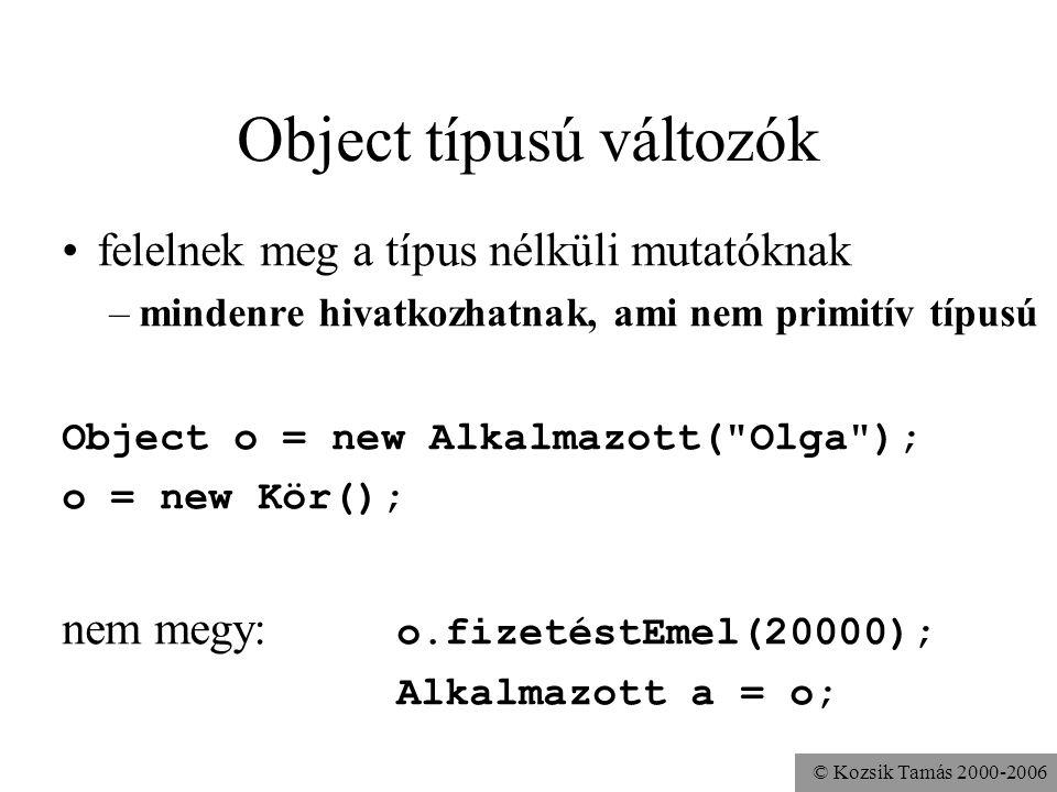 © Kozsik Tamás 2000-2006 Változók típusa statikus: a változó deklarációjában megadott típus dinamikus: a változó által hivatkozott objektum tényleges