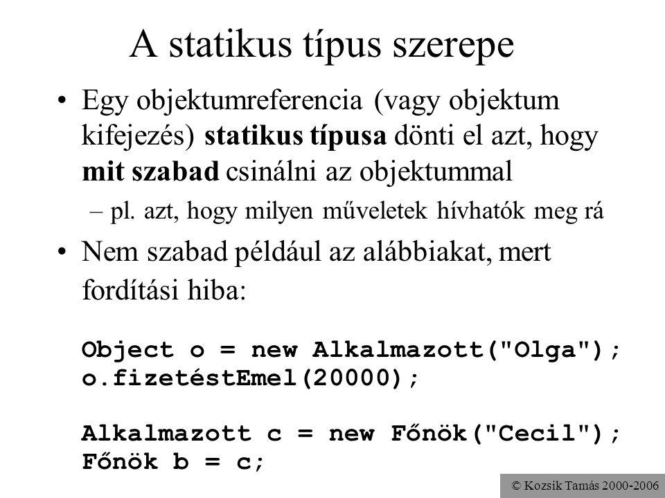 © Kozsik Tamás 2000-2006 Object típusú változók felelnek meg a típus nélküli mutatóknak –mindenre hivatkozhatnak, ami nem primitív típusú Object o = n
