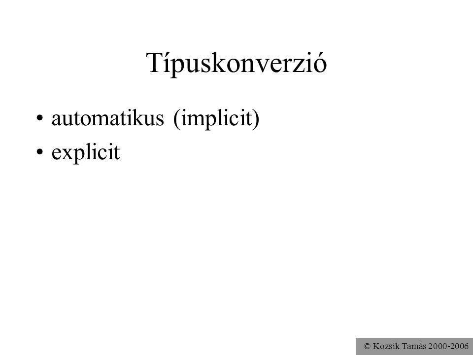 © Kozsik Tamás 2000-2006 Java-ban: Erős (strong) típusellenőrzés igyekszik fordítási időben típushelyességet biztosítani (static typing) esetenként fu