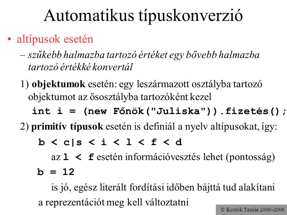 © Kozsik Tamás 2000-2006 Típuskonverzió automatikus (implicit) explicit