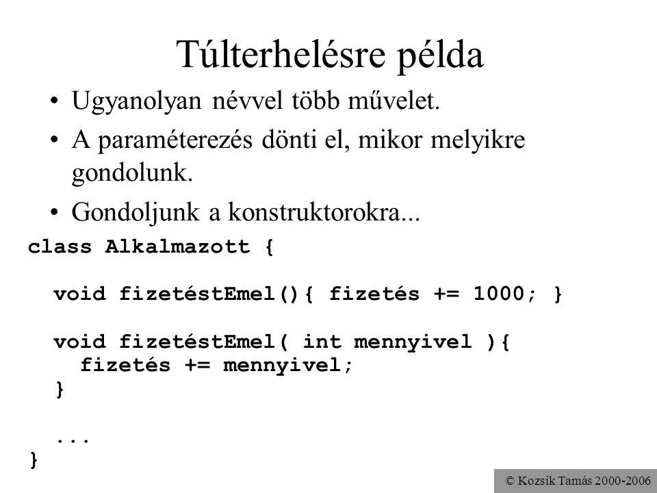 © Kozsik Tamás 2000-2006 Túlterhelésre példa Ugyanolyan névvel több művelet. A paraméterezés dönti el, mikor melyikre gondolunk. Gondoljunk a konstruk