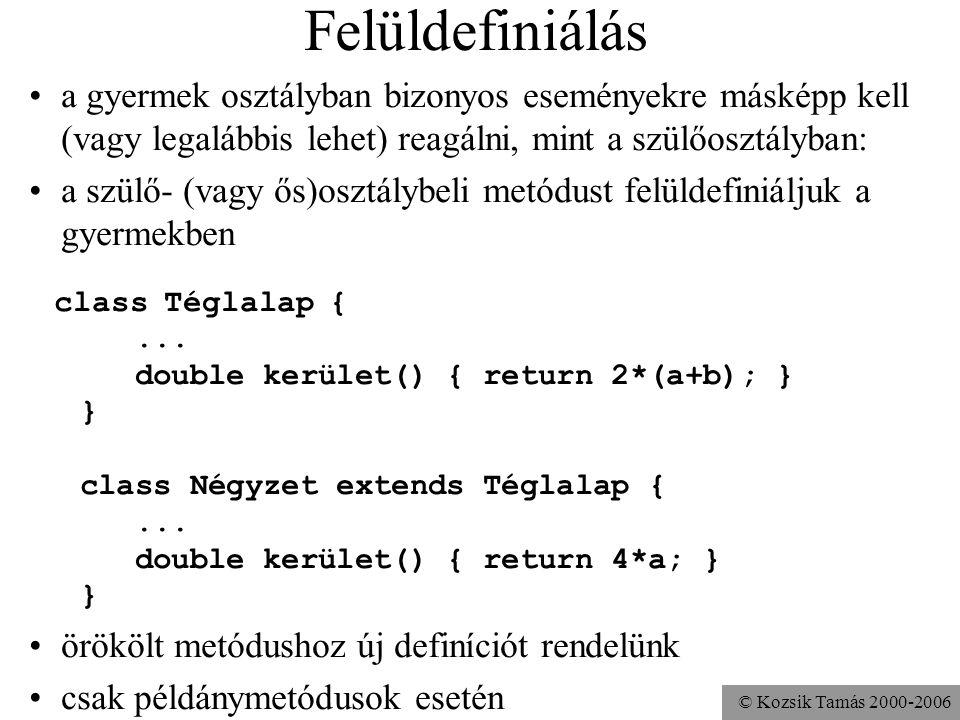 © Kozsik Tamás 2000-2006 Túlterhelésre példa class Alkalmazott { void fizetéstEmel(){ fizetéstEmel(1000); } void fizetéstEmel( int mennyivel ){ fizeté
