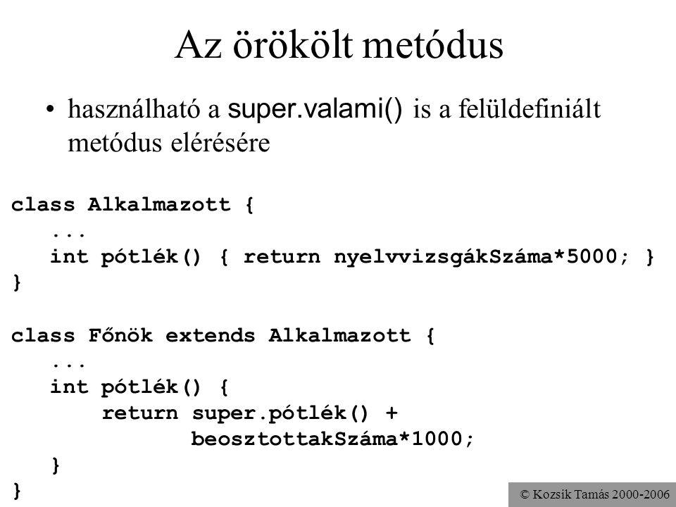 © Kozsik Tamás 2000-2006 Ha mást kell csinálnia... class Alkalmazott {... int pótlék() { return nyelvvizsgákSzáma*5000; } } class Főnök extends Alkalm
