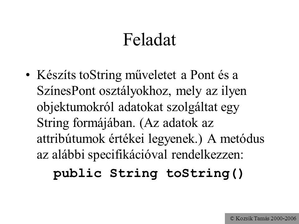 © Kozsik Tamás 2000-2006 Az örökölt metódus használható a super.valami() is a felüldefiniált metódus elérésére class Alkalmazott {... int pótlék() { r