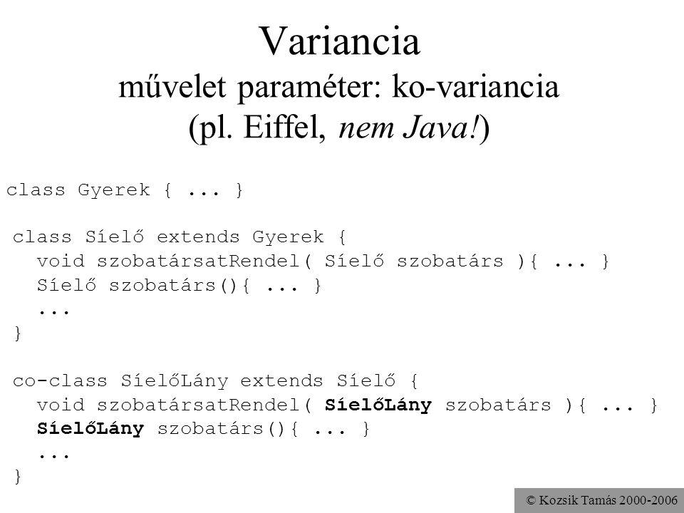 © Kozsik Tamás 2000-2006 Variancia művelet paraméter: kontra-variancia (nem Java!) class Gyerek {... } class Síelő extends Gyerek { void szobatársatRe