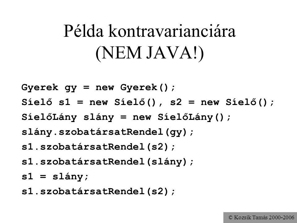© Kozsik Tamás 2000-2006 Általában megengedhető lenne művelet felüldefiniálása esetén kontravariancia (ellentétes változás) az alprogram paraméterében