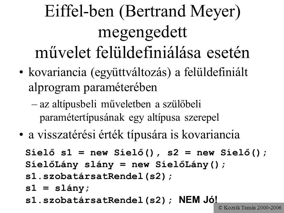 © Kozsik Tamás 2000-2006 Példa kontravarianciára (NEM JAVA!) Gyerek gy = new Gyerek(); Síelő s1 = new Síelő(), s2 = new Síelő(); SíelőLány slány = new