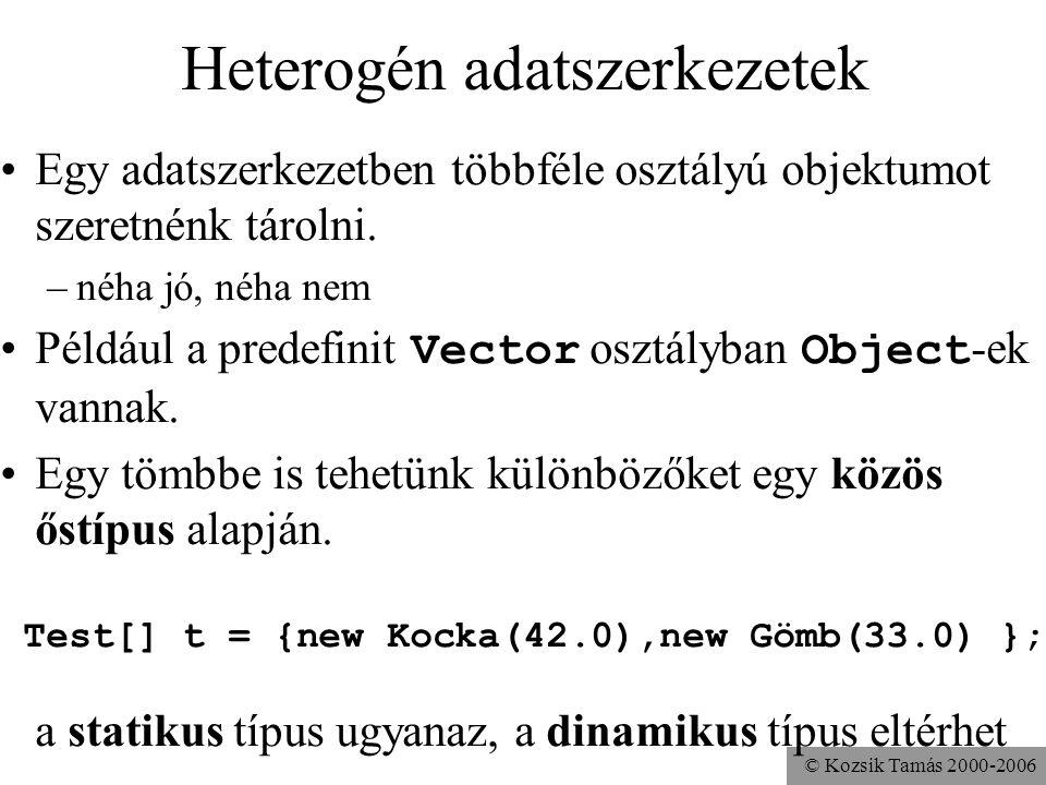 © Kozsik Tamás 2000-2006 Visszatérve a Java-hoz invariancia (nem-változás) az alprogram paraméterében –az altípusban a paraméter típusa ugyanaz, mint