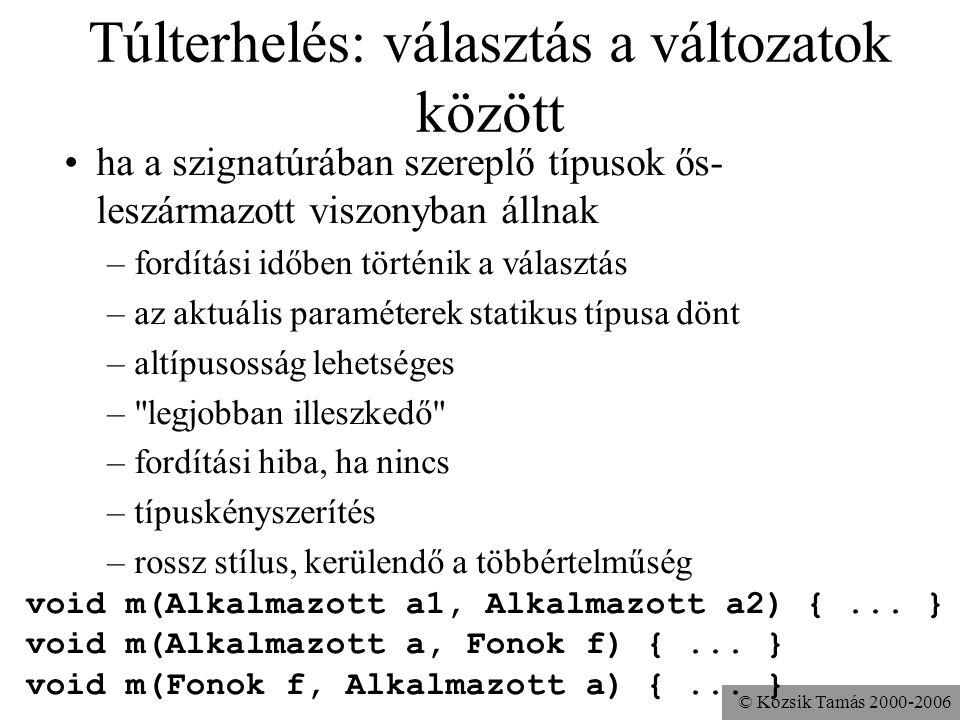 © Kozsik Tamás 2000-2006 Heterogén adatszerkezetek Egy adatszerkezetben többféle osztályú objektumot szeretnénk tárolni. –néha jó, néha nem Például a