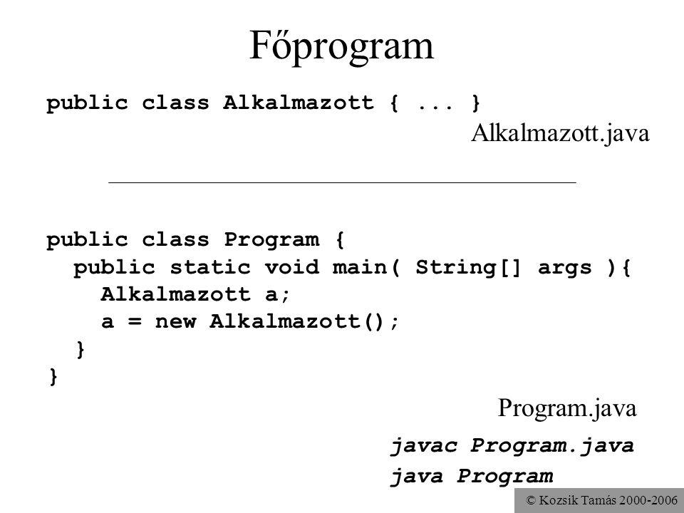 © Kozsik Tamás 2000-2006 Az Alkalmazott osztály public class Alkalmazott { String név; String beosztás; int fizetés; void fizetéstEmel( int mennyivel