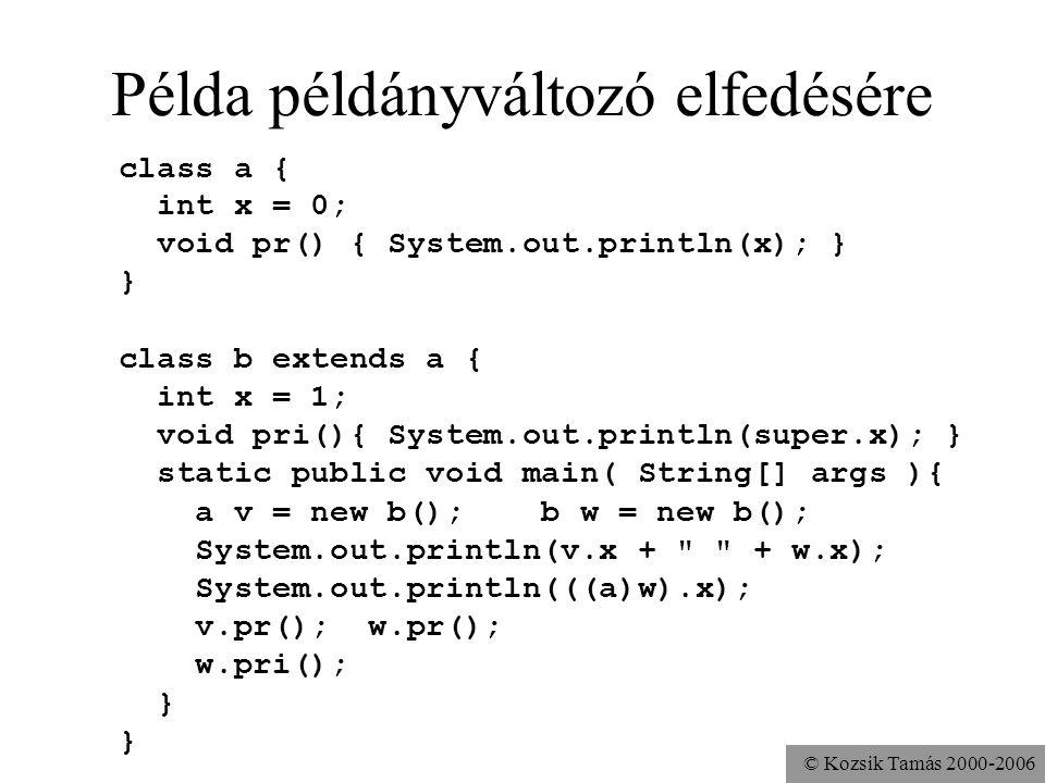 © Kozsik Tamás 2000-2006 Változók elfedése példány- vagy osztályszintű változók esetén statikus kiválasztás az elfedett változókhoz nem lehet közvetle