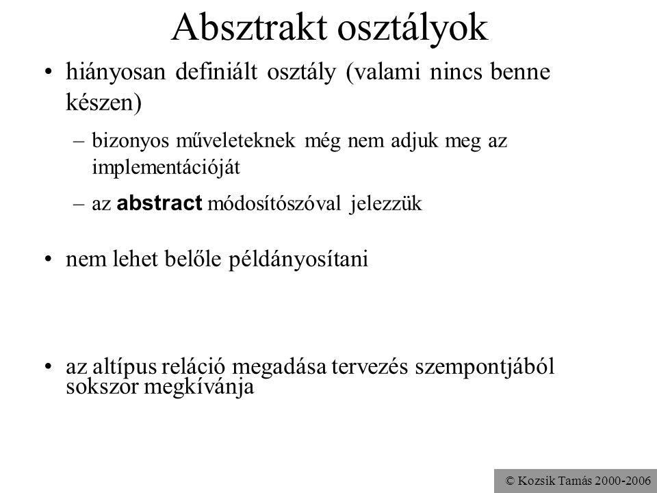 © Kozsik Tamás 2000-2006 Absztrakt osztályok hiányosan definiált osztály (valami nincs benne készen) –bizonyos műveleteknek még nem adjuk meg az imple