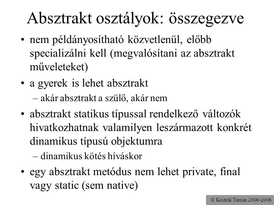 © Kozsik Tamás 2000-2006 public abstract class Hasáb { protected double magasság; public abstract double alapterület(); public double térfogat(){ retu