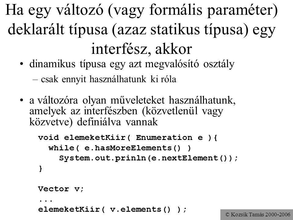 © Kozsik Tamás 2000-2006 Interfész: típus használhatók változódeklarációkban használhatók formális paraméterek specifikációjában egy interfész típusú