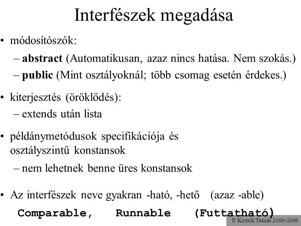 © Kozsik Tamás 2000-2006 Ha egy változó (vagy formális paraméter) deklarált típusa (azaz statikus típusa) egy interfész, akkor dinamikus típusa egy az