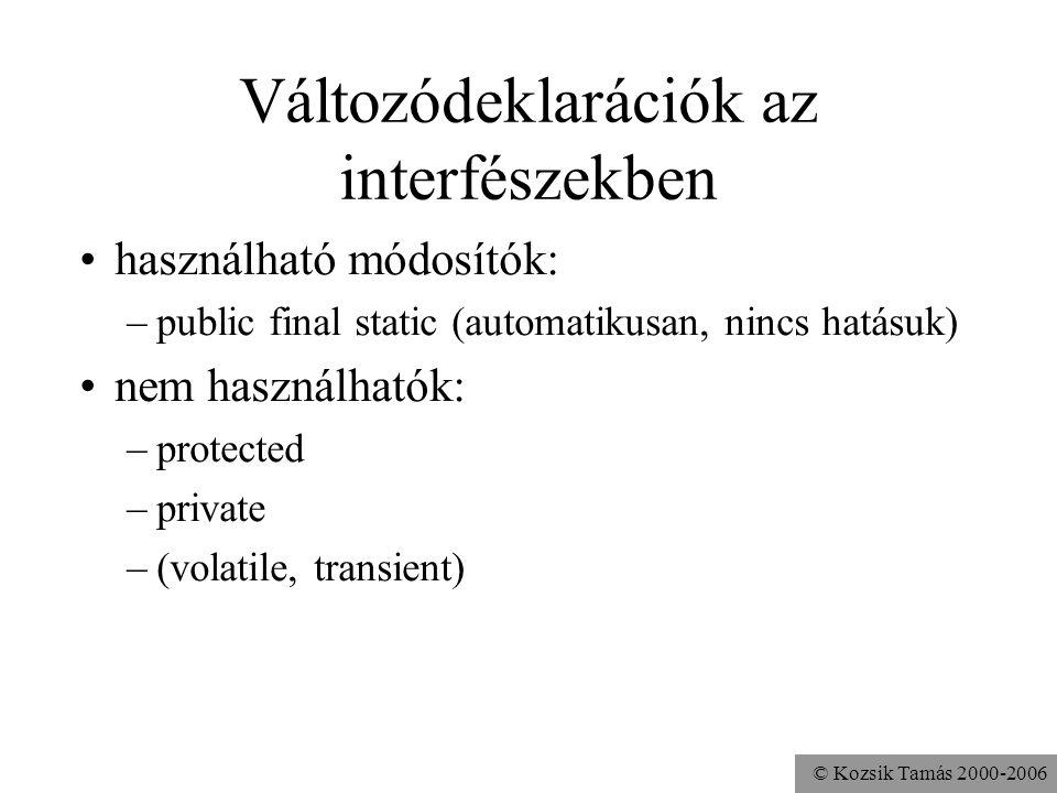 © Kozsik Tamás 2000-2006 Metódusok az interfészekben használható módosítók: –abstract és public (automatikusan, nincs hatásuk) nem használhatók: –prot