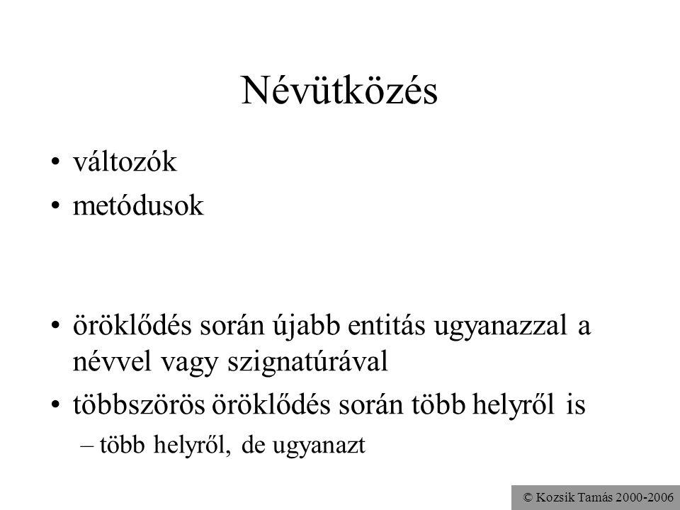 © Kozsik Tamás 2000-2006 Interfészt megvalósító osztály az osztályban egy implements klóz, benne több interfész felsorolható a metódusok megvalósítása
