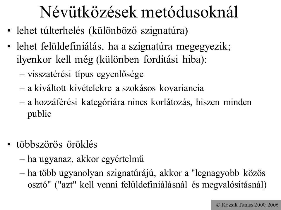 © Kozsik Tamás 2000-2006 Névütközések változódeklarációkban elfedés elérés minősítésen keresztül ha többszörösen örökölt –ha ugyanaz több úton, akkor