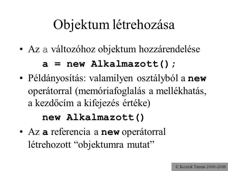© Kozsik Tamás 2000-2006 Objektumok tárolása Dinamikus memóriakezelés szükséges Ada, C: mutatók (pointerek) Java: referenciák Alkalmazott a; Az a vált