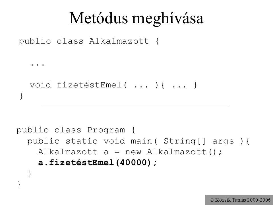 © Kozsik Tamás 2000-2006 Feladat Készíts főprogramot a Pont osztályhoz. Hozz létre benne egy Pont objektumot.