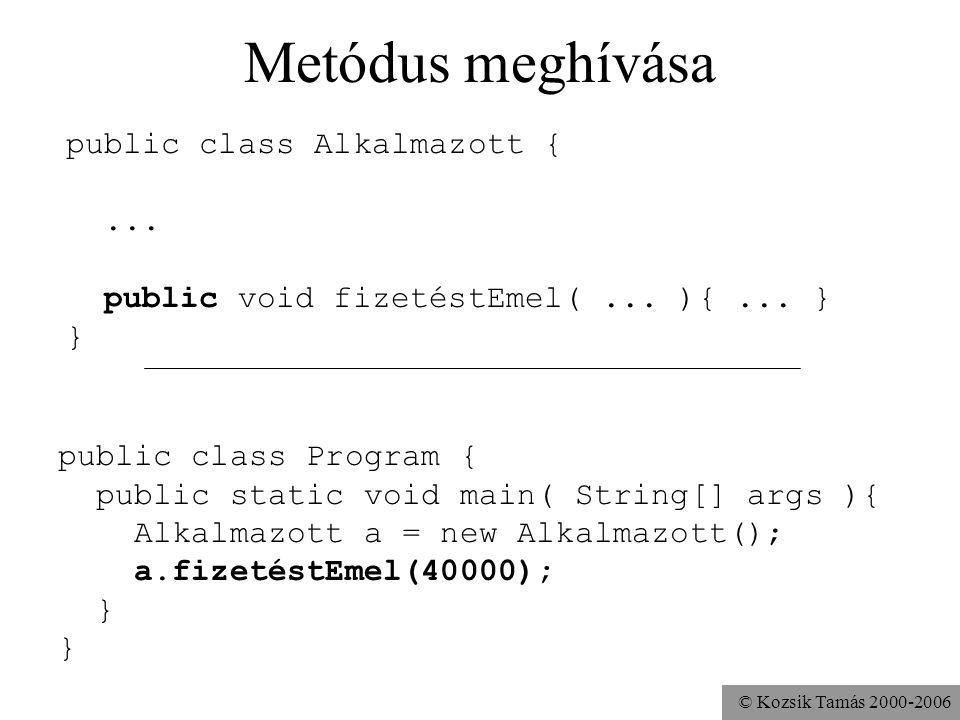 © Kozsik Tamás 2000-2006 Metódus meghívása public class Alkalmazott {... void fizetéstEmel(... ){... } } public class Program { public static void mai