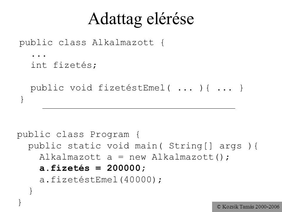 © Kozsik Tamás 2000-2006 Metódus meghívása public class Alkalmazott {... public void fizetéstEmel(... ){... } } public class Program { public static v