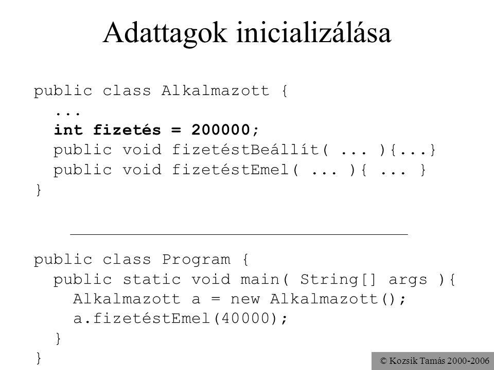 © Kozsik Tamás 2000-2006 Adattagok definiálása Adattag = példányváltozó Adattag megadása - változódeklaráció public class Alkalmazott {... int fizetés