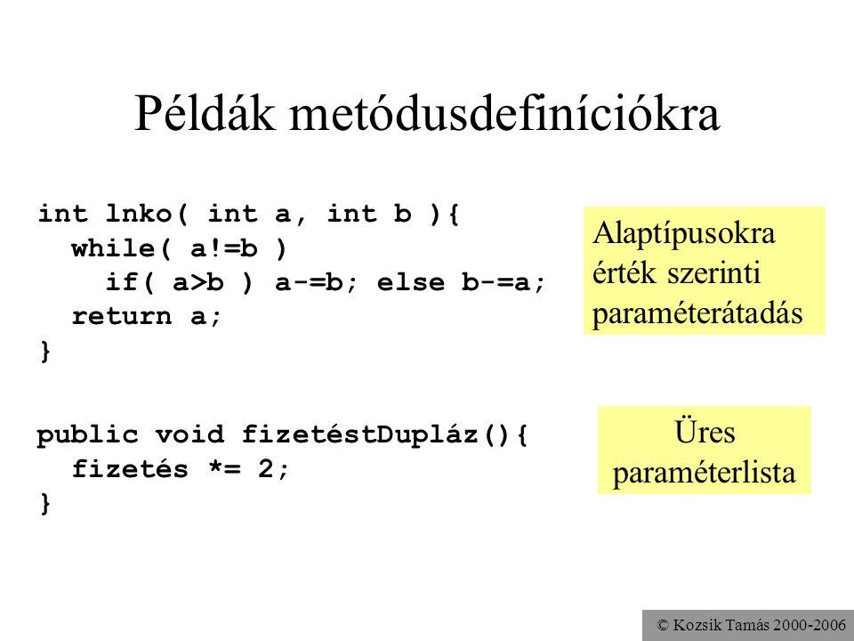 © Kozsik Tamás 2000-2006 Metódusok definíciója Fejből (specifikációból) és törzsből áll public void fizetéstEmel( int mennyivel ){ fizetés += mennyive
