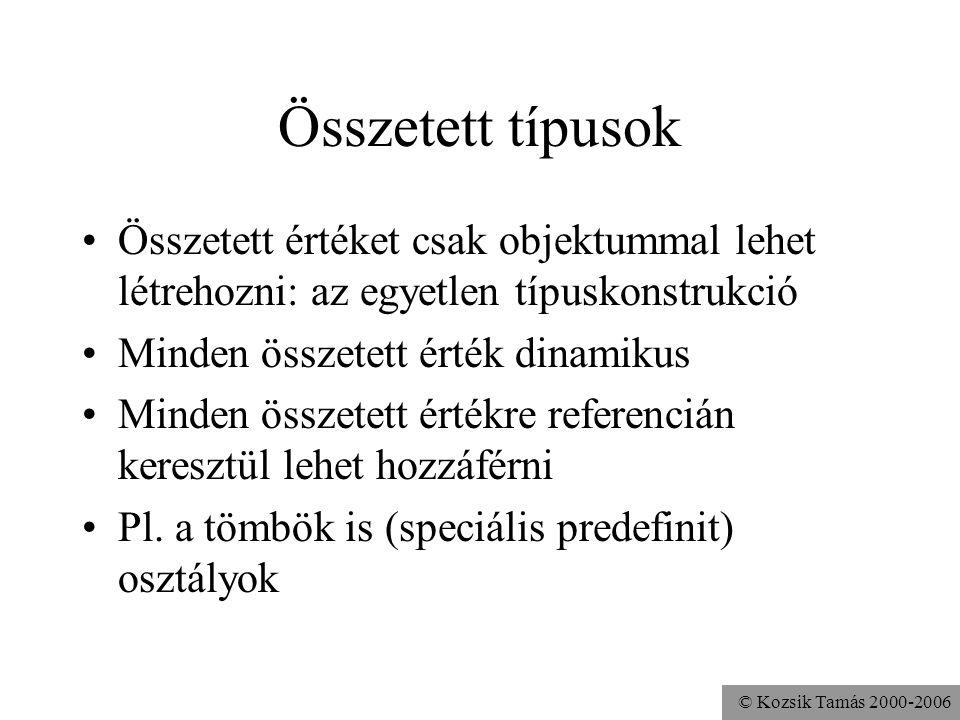 © Kozsik Tamás 2000-2006 Nem változtatható referencia final Alkalmazott a = new Alkalmazott(); a.fizetéstBeállít(100000); a = new Alkalmazott(); A ref