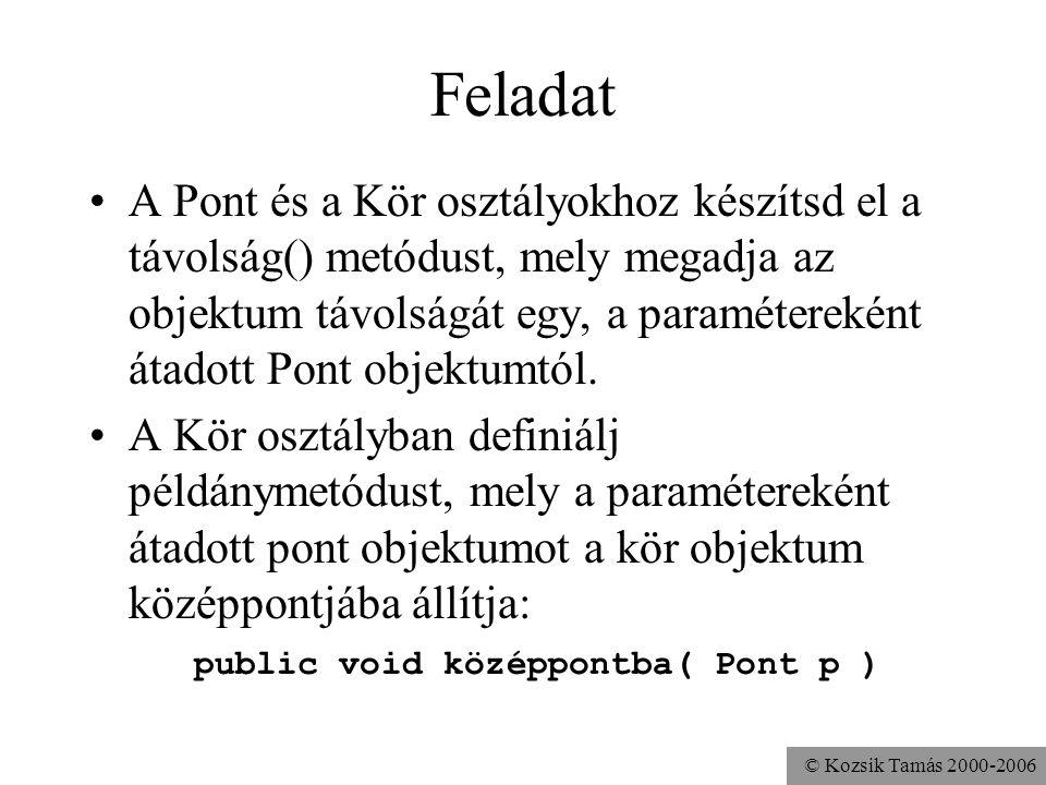 © Kozsik Tamás 2000-2006 Mellékhatás A metódusoknak lehet mellékhatása –az objektumon, amihez tartozik –globális objektumokon (System.out) –paraméterk
