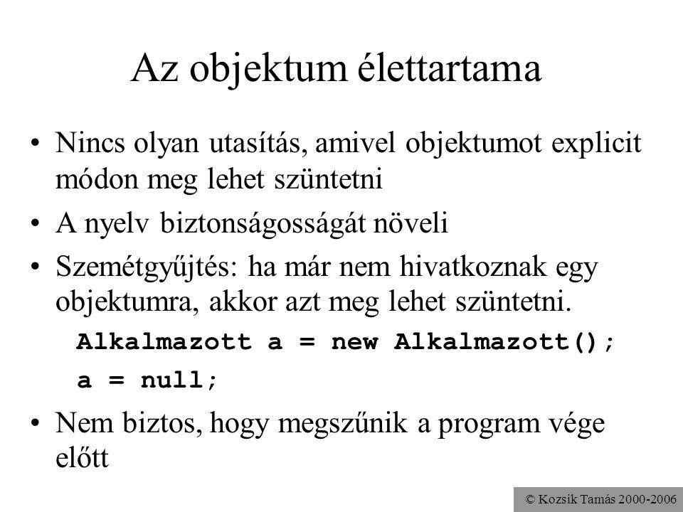 © Kozsik Tamás 2000-2006 Feladat A Pont és a Kör osztályokhoz készítsd el a távolság() metódust, mely megadja az objektum távolságát egy, a paramétere