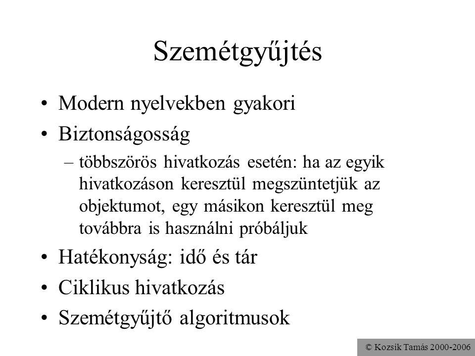 © Kozsik Tamás 2000-2006 Az objektum élettartama Nincs olyan utasítás, amivel objektumot explicit módon meg lehet szüntetni A nyelv biztonságosságát n
