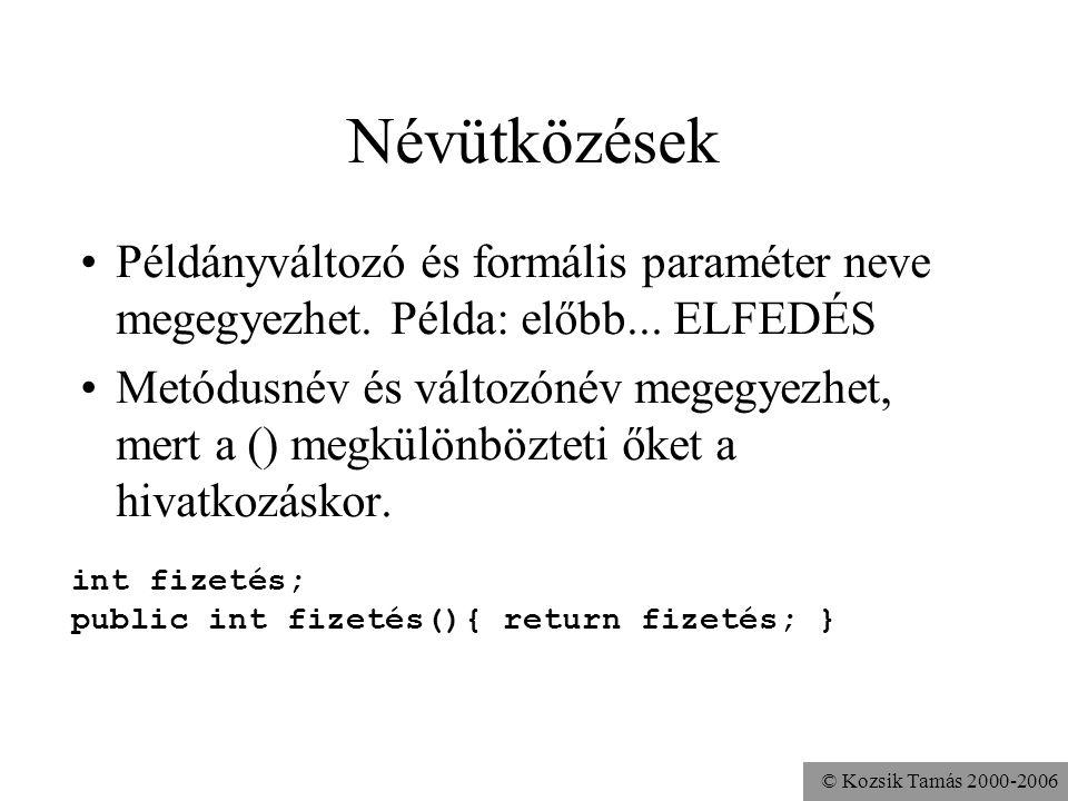 © Kozsik Tamás 2000-2006 Feladat A Kör osztály sugaratBeállít metódusának formális paramétere legyen ugyanúgy elnevezve, mint a sugár attribútum.