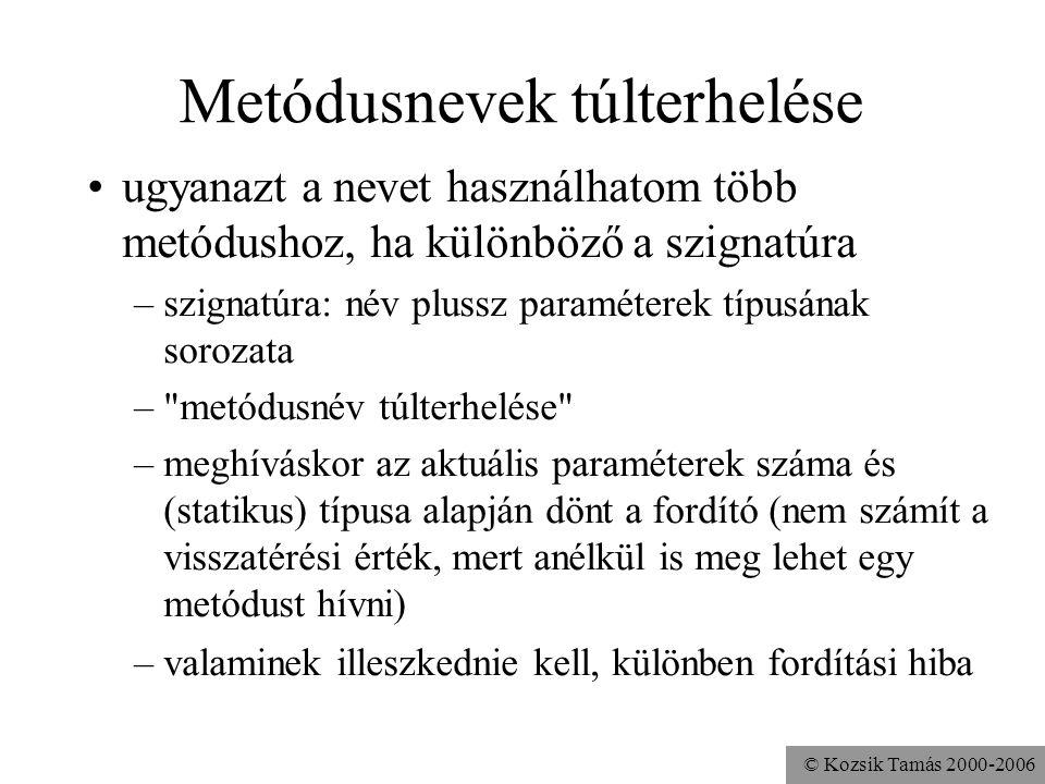 © Kozsik Tamás 2000-2006 Névütközések Példányváltozó és formális paraméter neve megegyezhet. Példa: előbb... ELFEDÉS Metódusnév és változónév megegyez