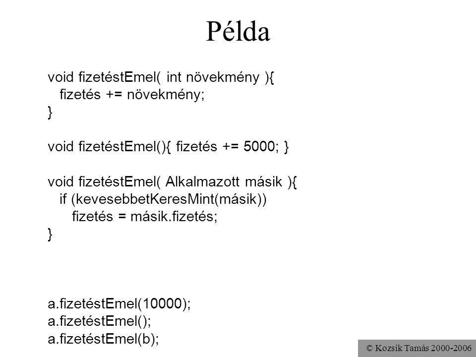© Kozsik Tamás 2000-2006 Metódusnevek túlterhelése ugyanazt a nevet használhatom több metódushoz, ha különböző a szignatúra –szignatúra: név plussz pa