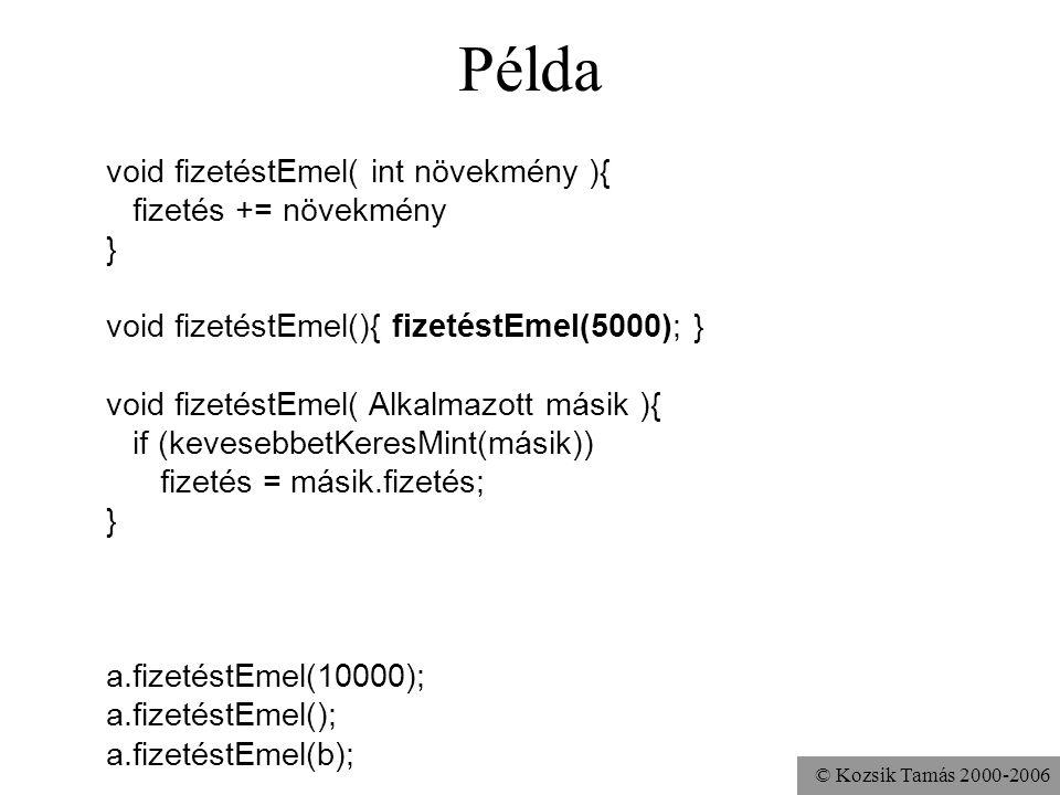 © Kozsik Tamás 2000-2006 Példa void fizetéstEmel( int növekmény ){ fizetés += növekmény; } void fizetéstEmel(){ fizetés += 5000; } void fizetéstEmel(