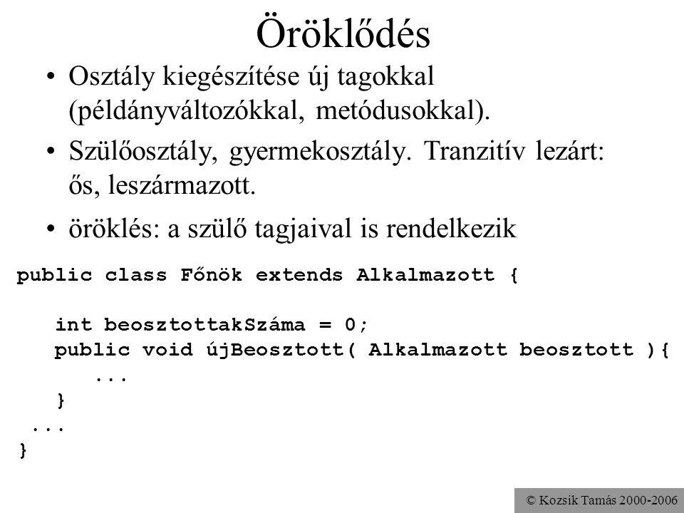 © Kozsik Tamás 2000-2006 Feladat Készíts középpontos tükrözést végző műveleteket a Pont és a Kör osztályokban. A műveleteket meg lehessen hívni Pont o