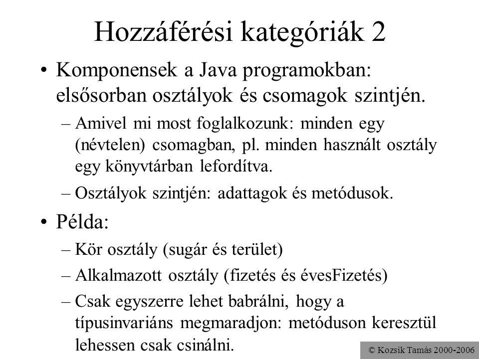 © Kozsik Tamás 2000-2006 Hozzáférési kategóriák Információ-elrejtés: nem jó, ha
