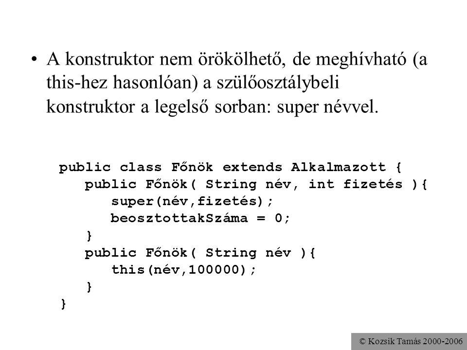 © Kozsik Tamás 2000-2006 A konstruktorok előtt a rendszer lefoglalja a tárat. ha a programozó nem ír konstruktort, akkor létrejön egy implicit, ami pu