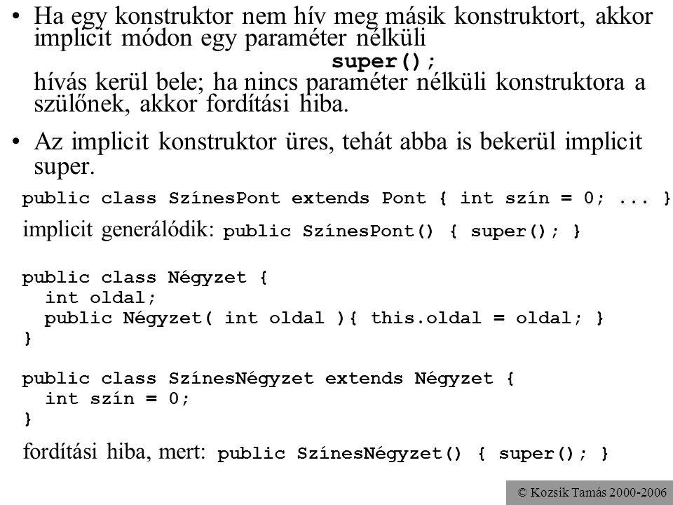 © Kozsik Tamás 2000-2006 A konstruktor nem örökölhető, de meghívható (a this-hez hasonlóan) a szülőosztálybeli konstruktor a legelső sorban: super név