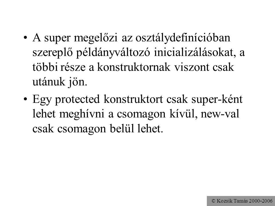 © Kozsik Tamás 2000-2006 Ha egy konstruktor nem hív meg másik konstruktort, akkor implicit módon egy paraméter nélküli super(); hívás kerül bele; ha n