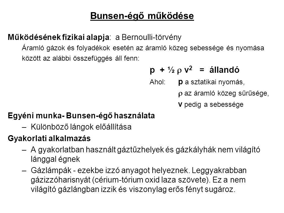 Bunsen-égő működése Működésének fizikai alapja: a Bernoulli-törvény Áramló gázok és folyadékok esetén az áramló közeg sebessége és nyomása között az a