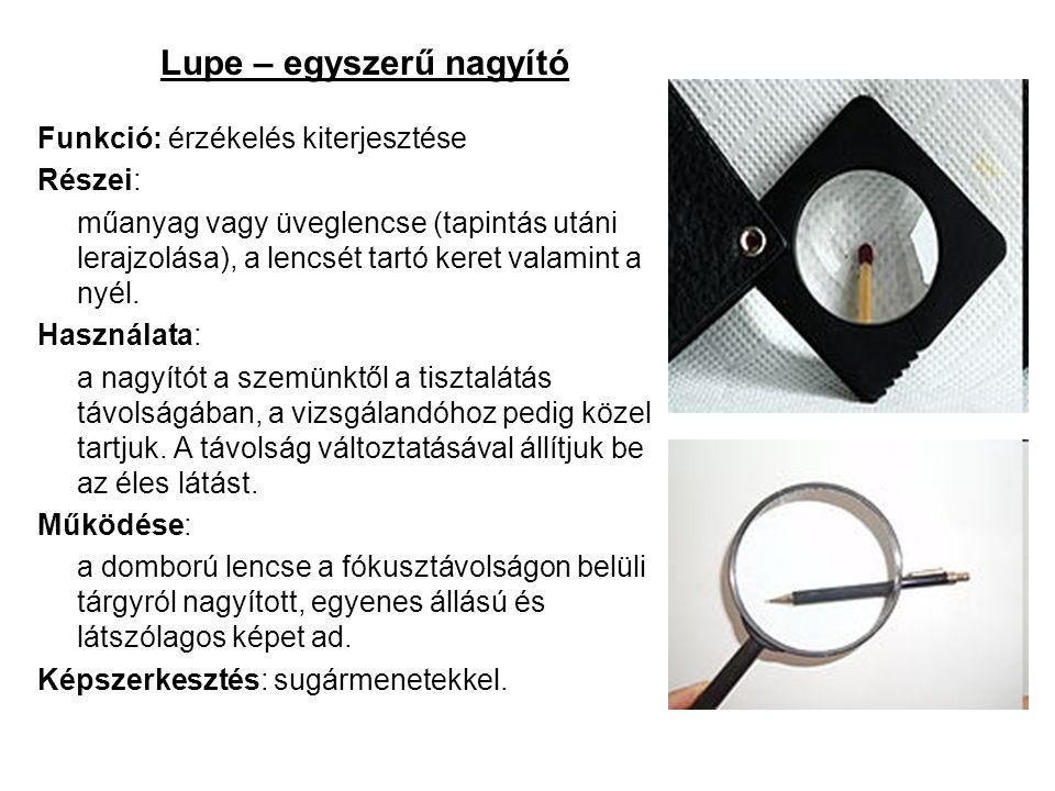 Lupe – egyszerű nagyító Funkció: érzékelés kiterjesztése Részei: műanyag vagy üveglencse (tapintás utáni lerajzolása), a lencsét tartó keret valamint