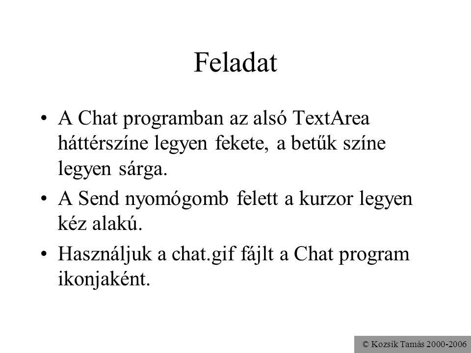 © Kozsik Tamás 2000-2006 Feladat A Chat programban az alsó TextArea háttérszíne legyen fekete, a betűk színe legyen sárga.