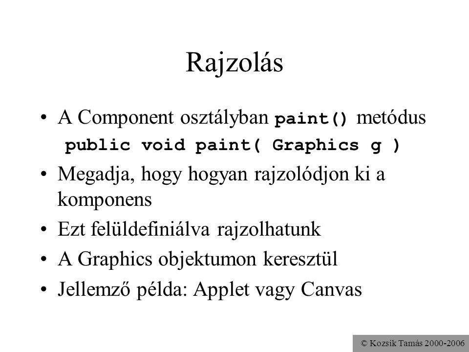 © Kozsik Tamás 2000-2006 Rajzolás A Component osztályban paint() metódus public void paint( Graphics g ) Megadja, hogy hogyan rajzolódjon ki a komponens Ezt felüldefiniálva rajzolhatunk A Graphics objektumon keresztül Jellemző példa: Applet vagy Canvas