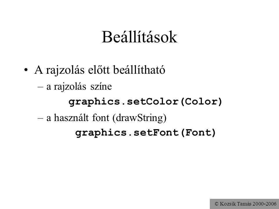 © Kozsik Tamás 2000-2006 Beállítások A rajzolás előtt beállítható –a rajzolás színe graphics.setColor(Color) –a használt font (drawString) graphics.setFont(Font)