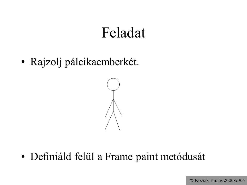 © Kozsik Tamás 2000-2006 Feladat Rajzolj pálcikaemberkét. Definiáld felül a Frame paint metódusát