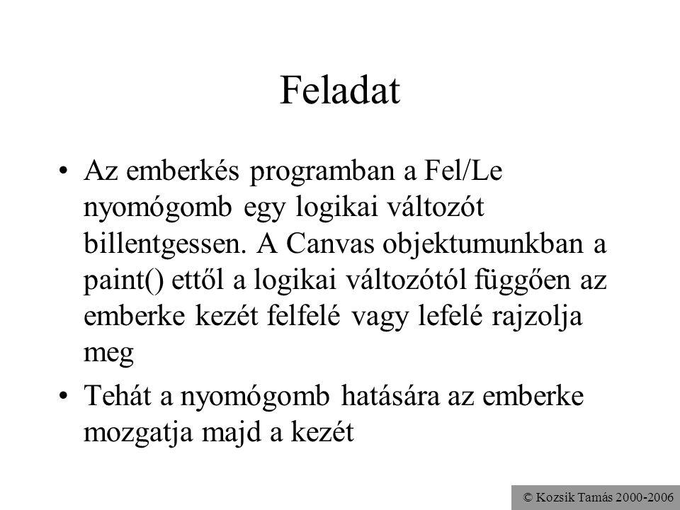© Kozsik Tamás 2000-2006 Feladat Az emberkés programban a Fel/Le nyomógomb egy logikai változót billentgessen.