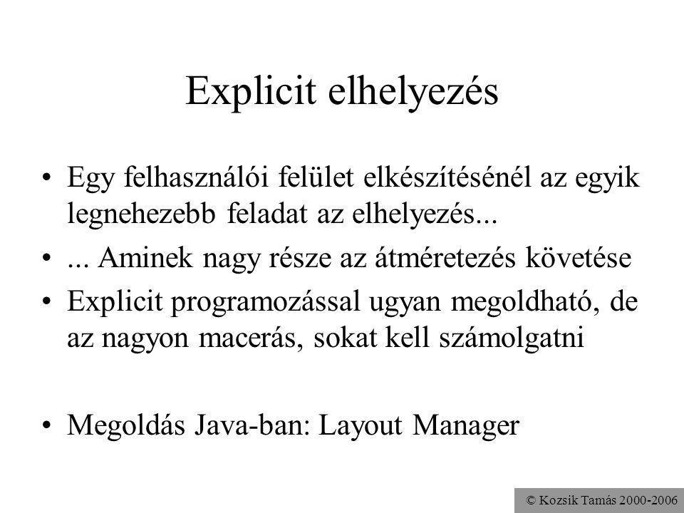© Kozsik Tamás 2000-2006 Explicit elhelyezés Egy felhasználói felület elkészítésénél az egyik legnehezebb feladat az elhelyezés......